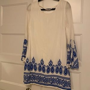 White Dress with Blue pattern